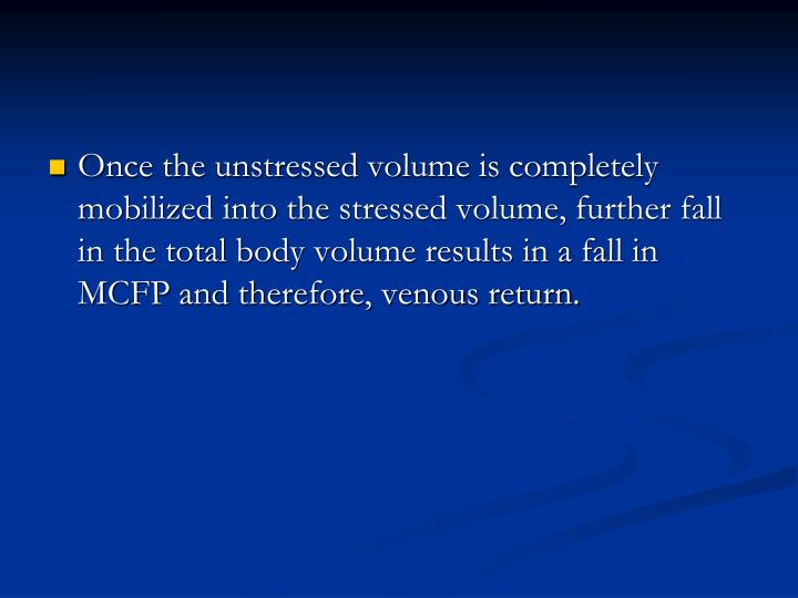 Once the unstressed volume is completely mobilized into the stressed volume, further fall in the total body volume results in a fall in MCFP and therefore, venous return.
