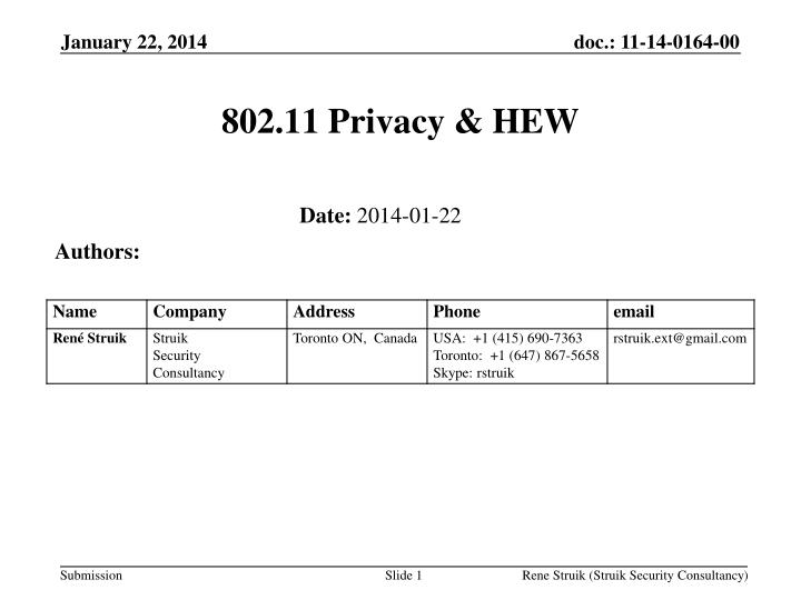 802.11 Privacy & HEW