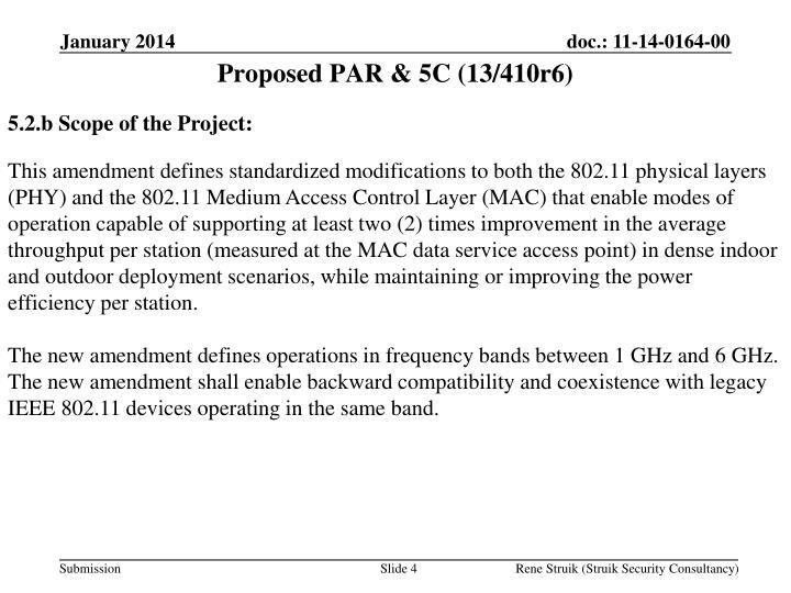 Proposed PAR & 5C (13/410r6)
