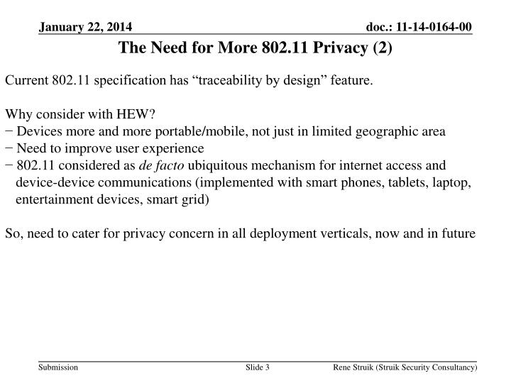 The Need for More 802.11 Privacy (2)