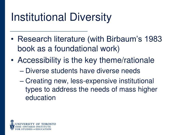 Institutional Diversity