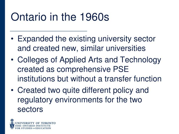 Ontario in the 1960s