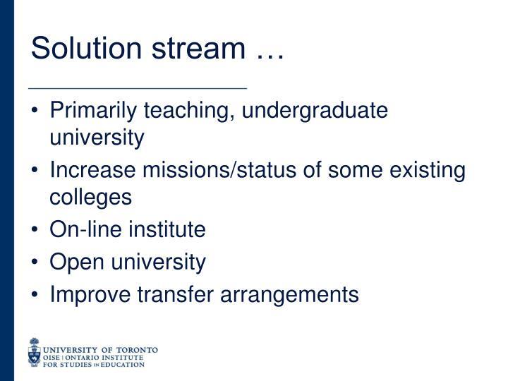 Solution stream …