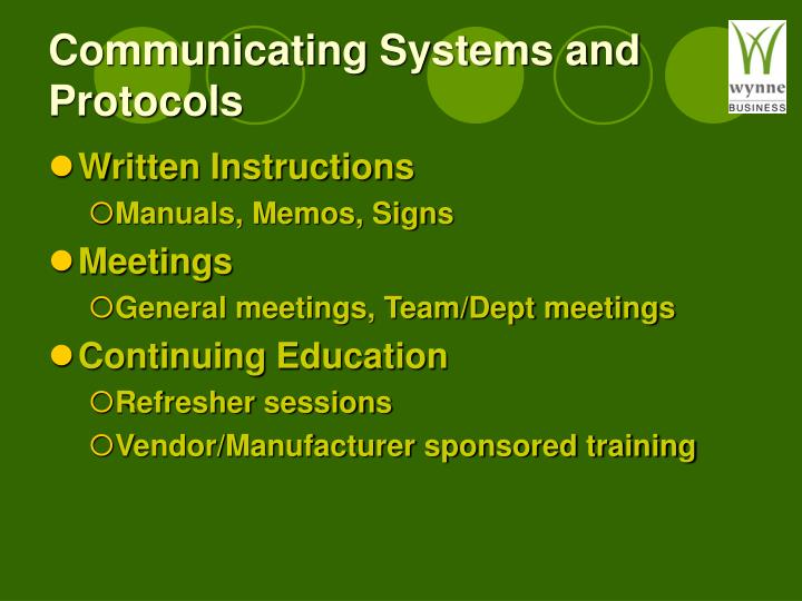Communicating Systems and Protocols