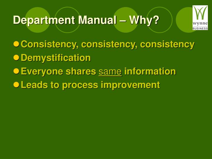 Department Manual – Why?