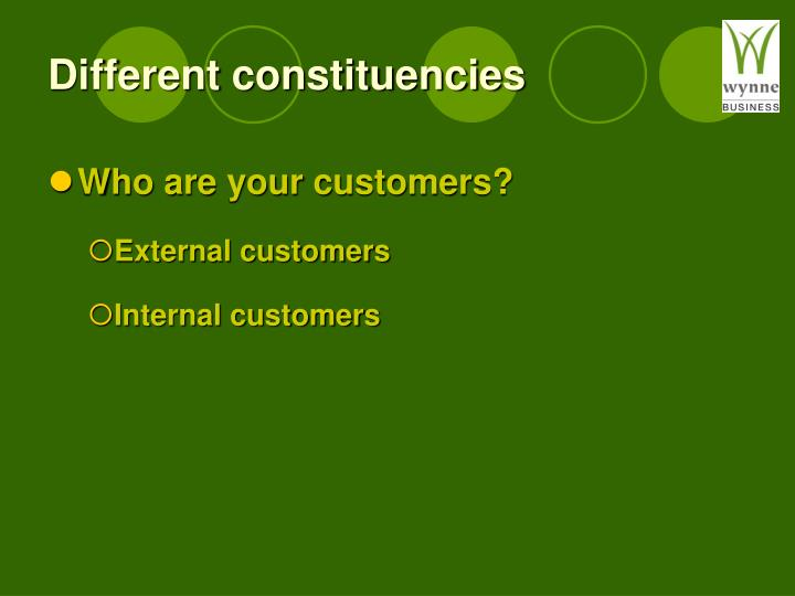 Different constituencies