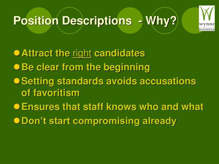 Position Descriptions  - Why?