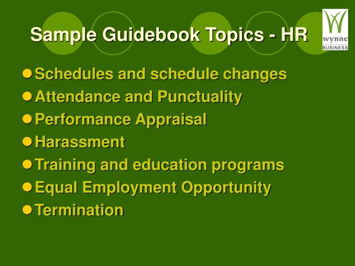 Sample Guidebook Topics - HR