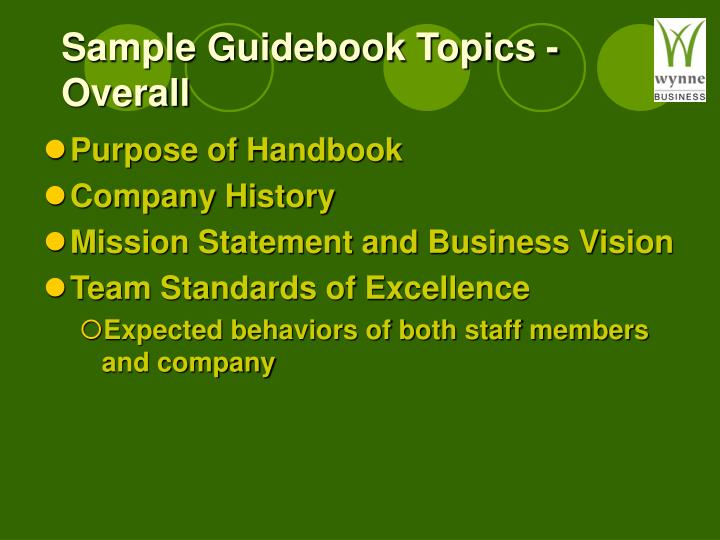 Sample Guidebook Topics - Overall