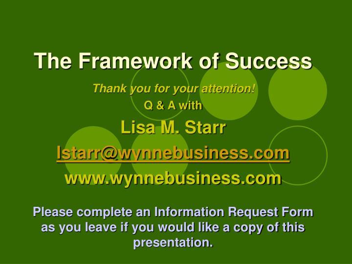 The Framework of Success