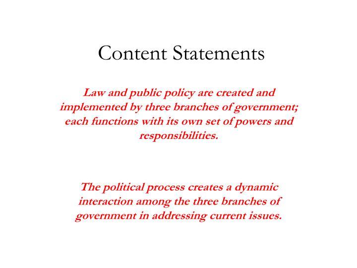 Content Statements