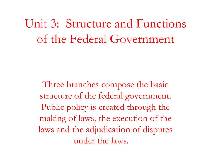 Unit 3 structure and functions of the federal government