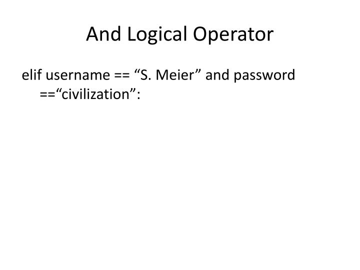 And Logical Operator