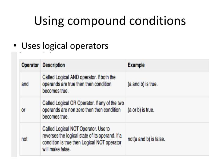 Using compound conditions
