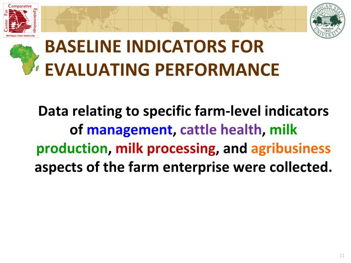 BASELINE INDICATORS FOR EVALUATING PERFORMANCE