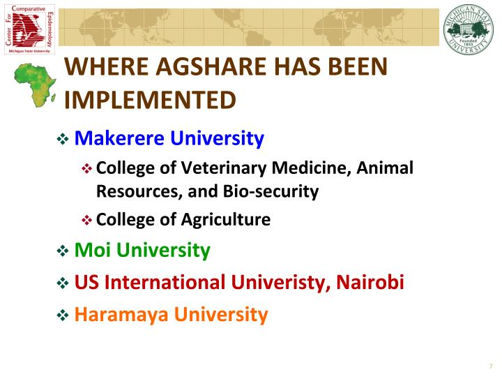 WHERE AGSHARE HAS BEEN IMPLEMENTED
