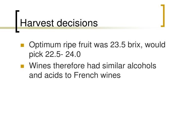 Harvest decisions