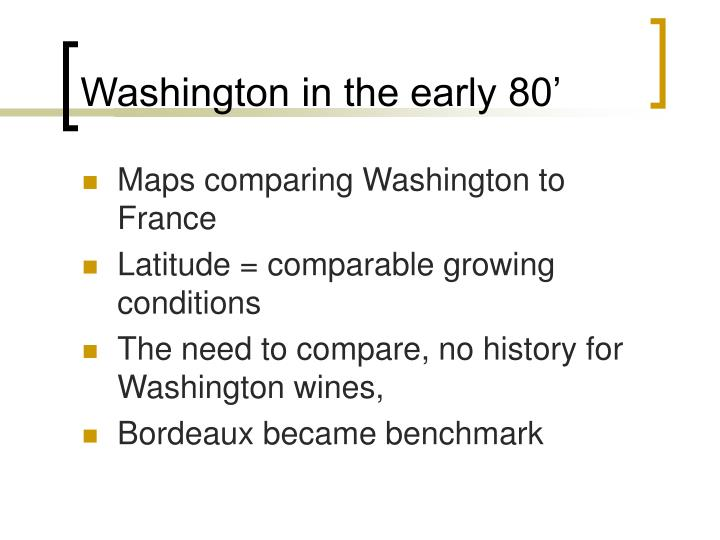 Washington in the early 80'