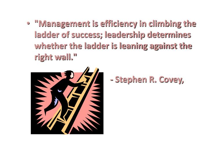 """Management is efficiency in climbing the ladder of success; leadership determines whether the ladde..."