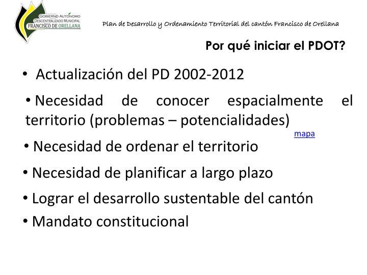 Plan de Desarrollo y Ordenamiento Territorial del cantón Francisco de Orellana