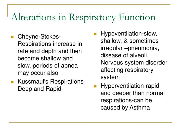 Alterations in Respiratory Function