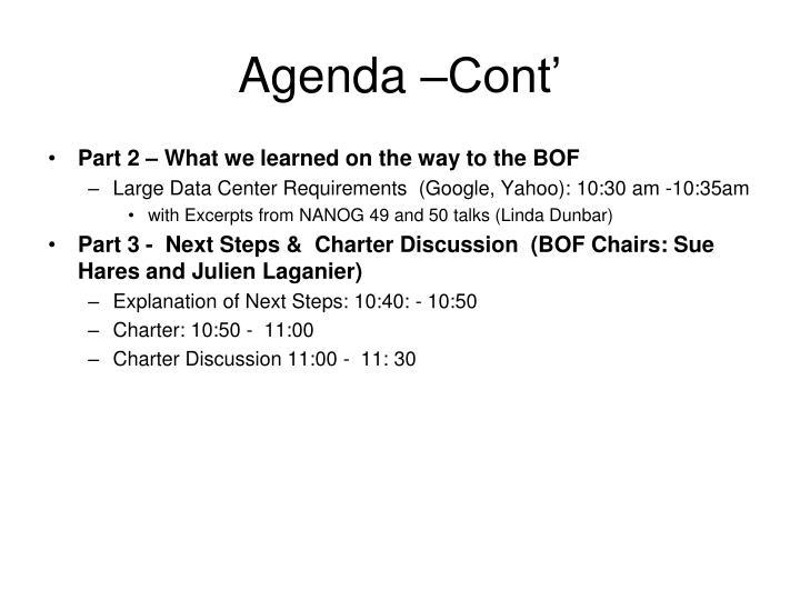 Agenda –Cont'