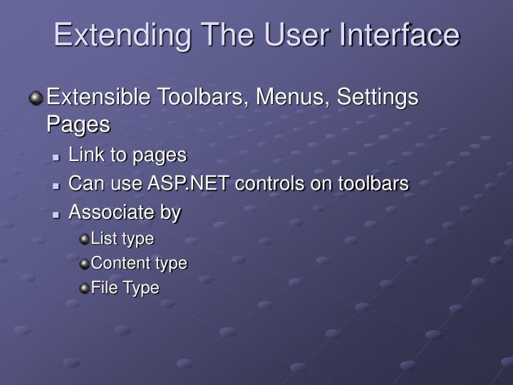Extending The User Interface