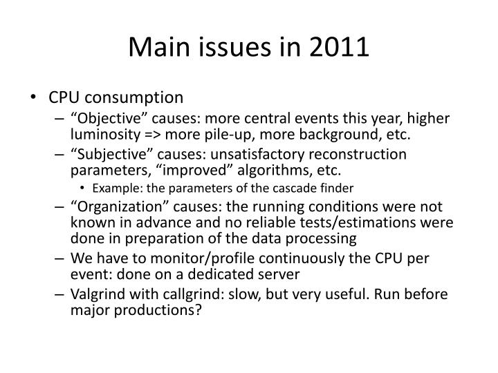 Main issues in 2011