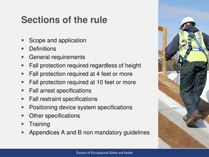 Sections of the rule