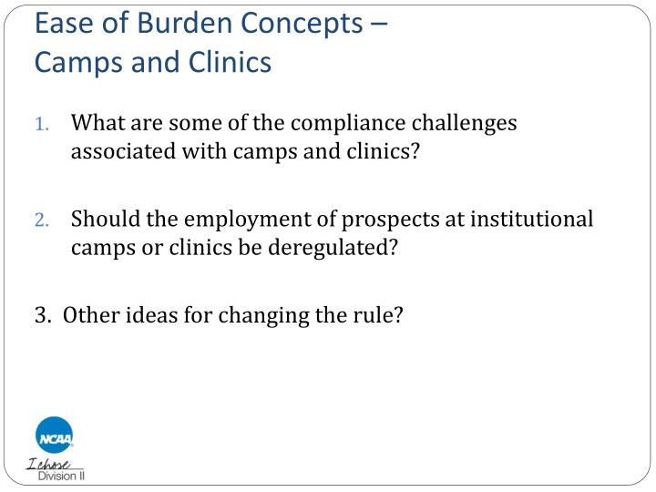 Ease of Burden Concepts –