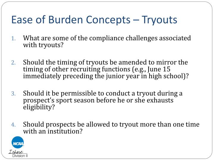 Ease of Burden Concepts – Tryouts