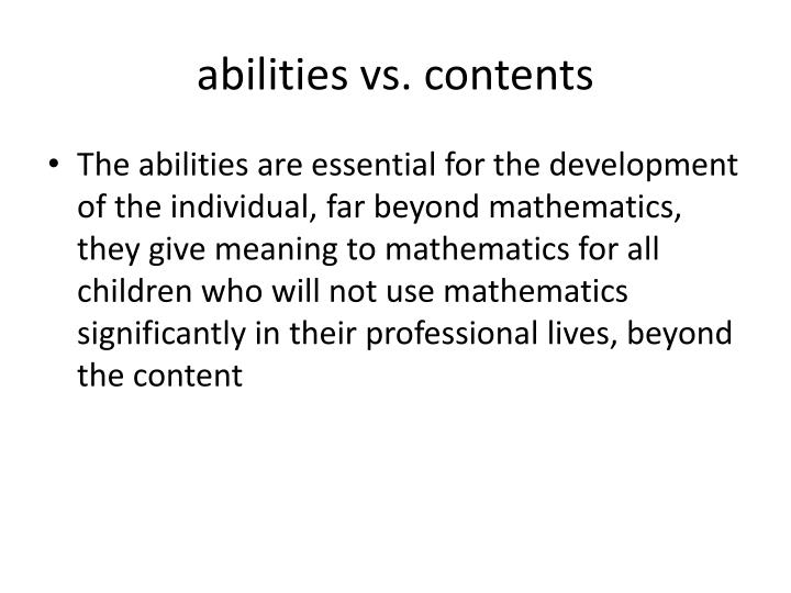 abilities vs. contents