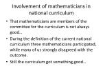 involvement of mathematicians in national curriculum