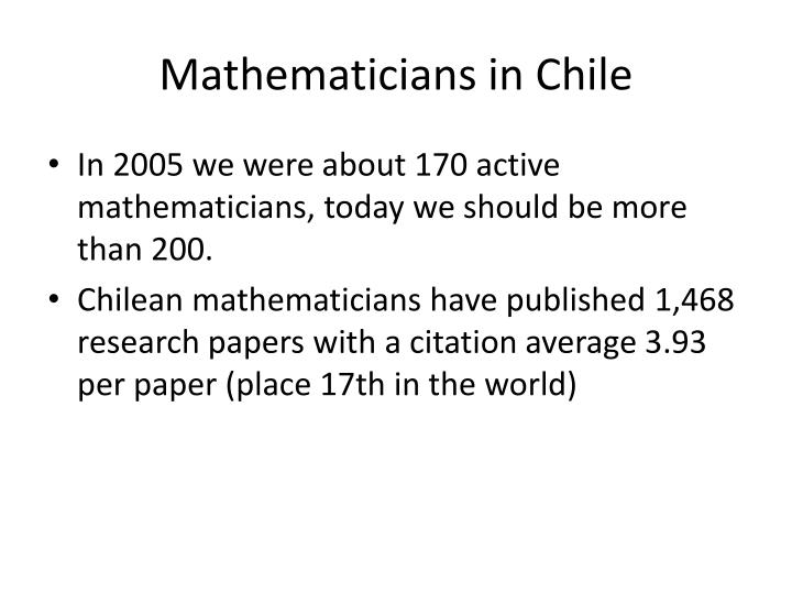 Mathematicians in Chile