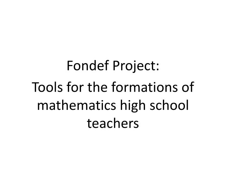 Fondef Project: