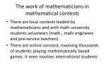 the work of mathematicians in mathematical contests