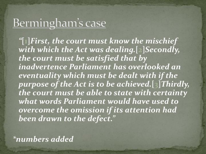 Bermingham's case
