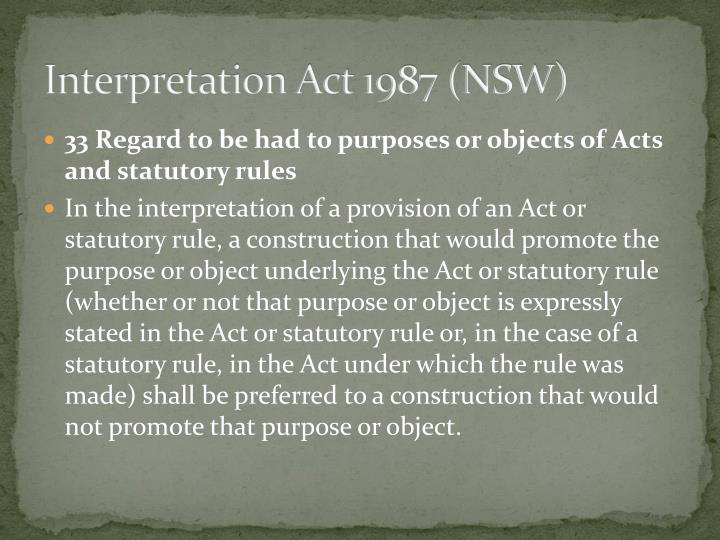 Interpretation Act 1987 (NSW)