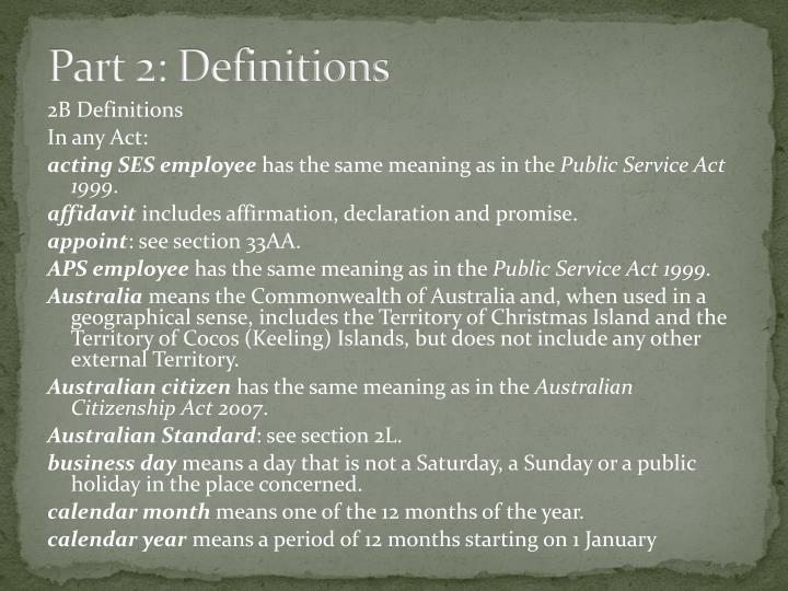 Part 2: Definitions