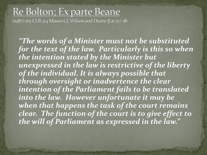 Re Bolton; Ex parte Beane