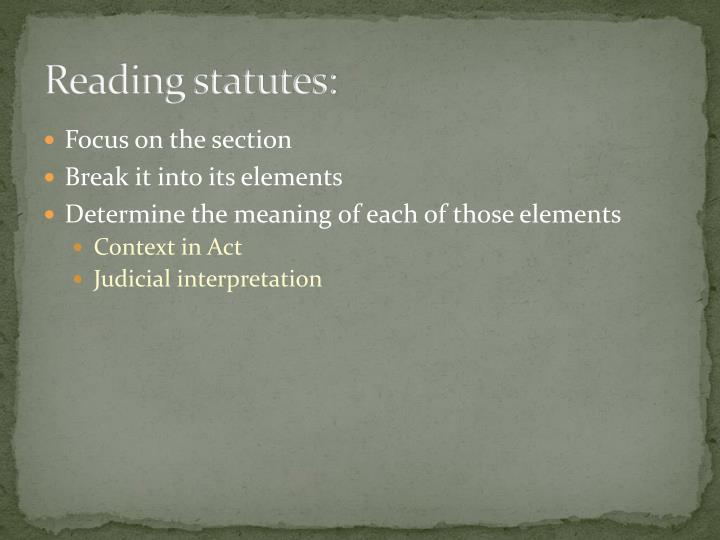 Reading statutes: