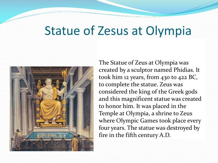 Statue of Zesus at Olympia