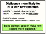 disfluency more likely for nps with new referents