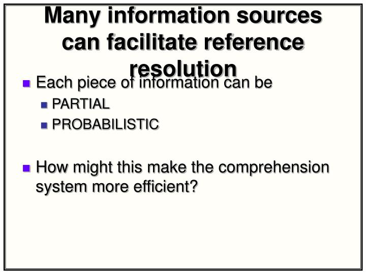 Many information sources can facilitate reference resolution