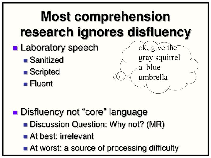 Most comprehension research ignores disfluency