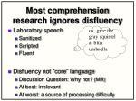 most comprehension research ignores disfluency
