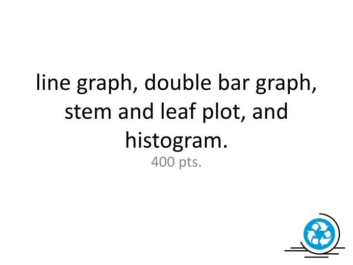 line graph, double bar graph, stem and leaf plot, and histogram.