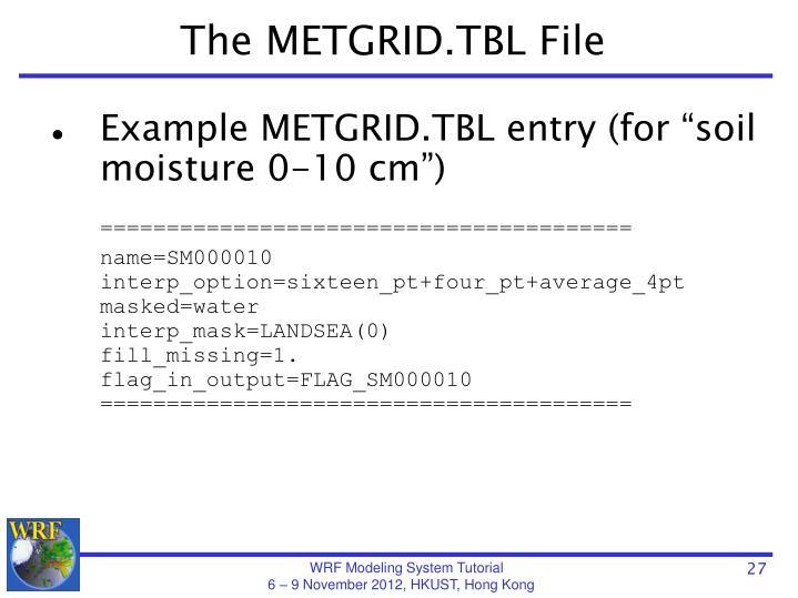 The METGRID.TBL File