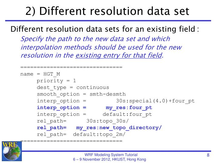 2) Different resolution data set