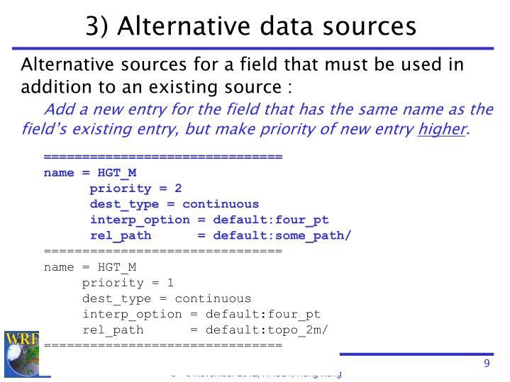 3) Alternative data sources